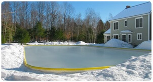 backyard ice rinks or personal ice skating rinks are easy to set up