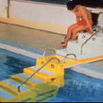 transfer system from wheelchair to accessible steps into pool