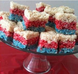 image of red, white and blue rice krispy treat desserts for a patriotic pool party