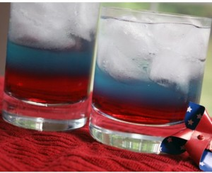 tri-color patriotic drink, red white and blue beverage