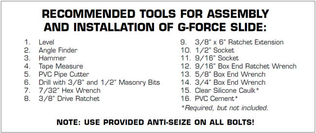 gforce-slide-supplies-for-installation