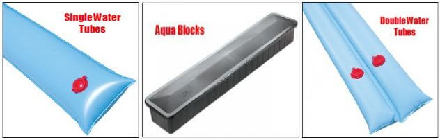 pool cover bags and aqua blocks for solid pool cover weights