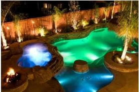 LED colored pool lighting