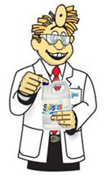 Dr pool holding a bottle of splashes sanitizer