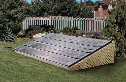 four pool solar panels linked