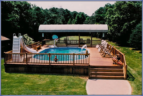 Swimming pool rehab remodeling renovation ideas for Above ground pool designs