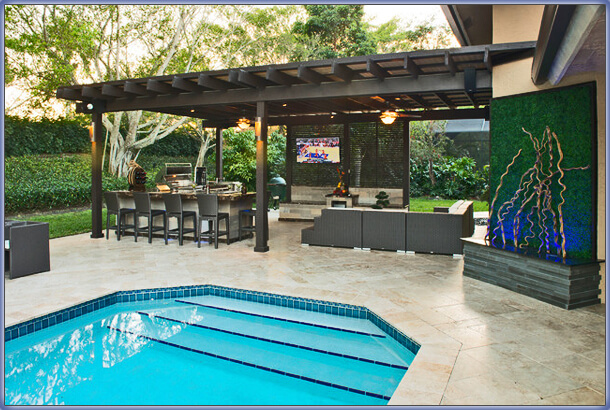 Pool With Outdoor Dining And Living Area, And Marble Pool Deck