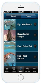 Go Swim App - for Swim Instruction with Olympic examples of swimming skills
