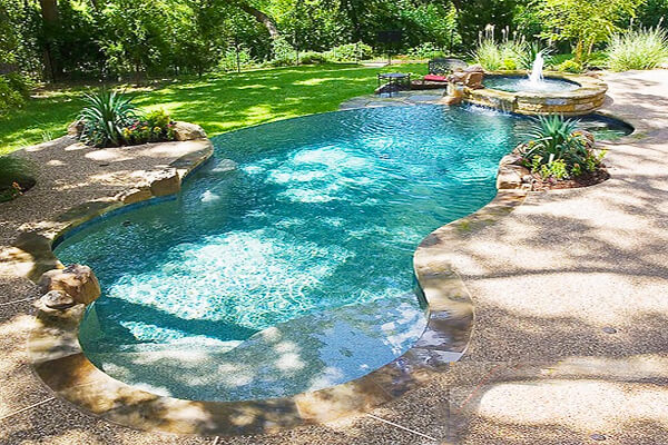 residential lazy river pool designs this pool features a baja shelf shown in the foreground perfect. beautiful ideas. Home Design Ideas
