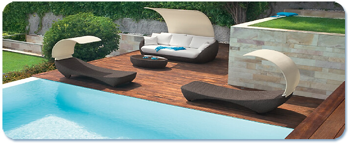Contemporary pool furniture with canopy