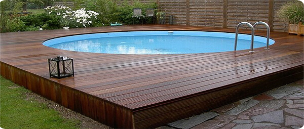 Elegant Wood Deck Above Ground Pool