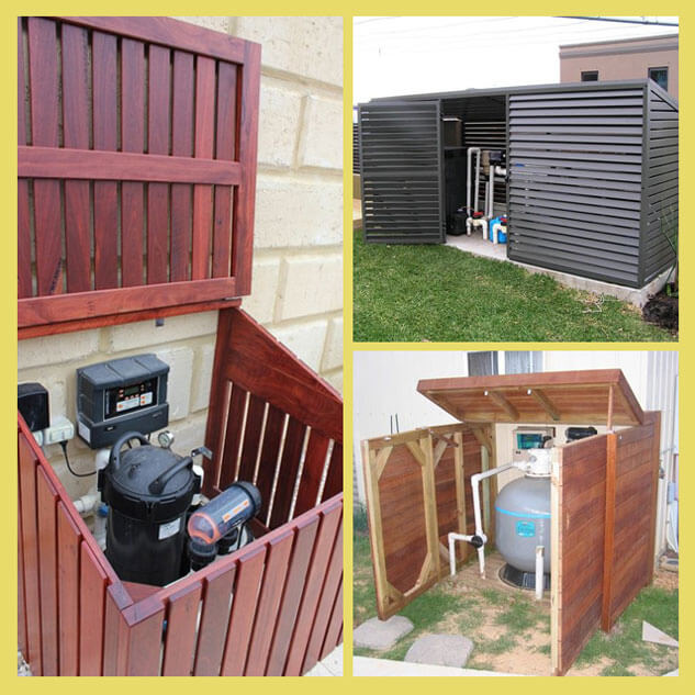 Pool Pump Shed Designs ideas for enclosing your pool equipment pump and filter enclosures Pool Enclosure Ideas 5
