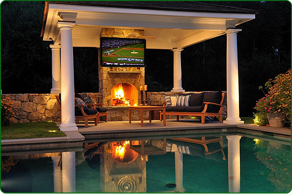 The perfect pool or a guy s dream pool intheswim pool blog - Outdoor fireplace with tv ...