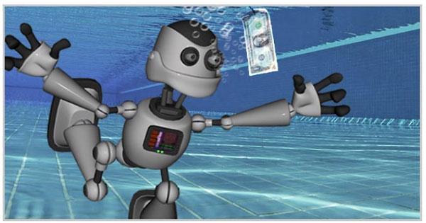 Robot underwater, chasing a dollar bill, ala Nirvana Nevermind