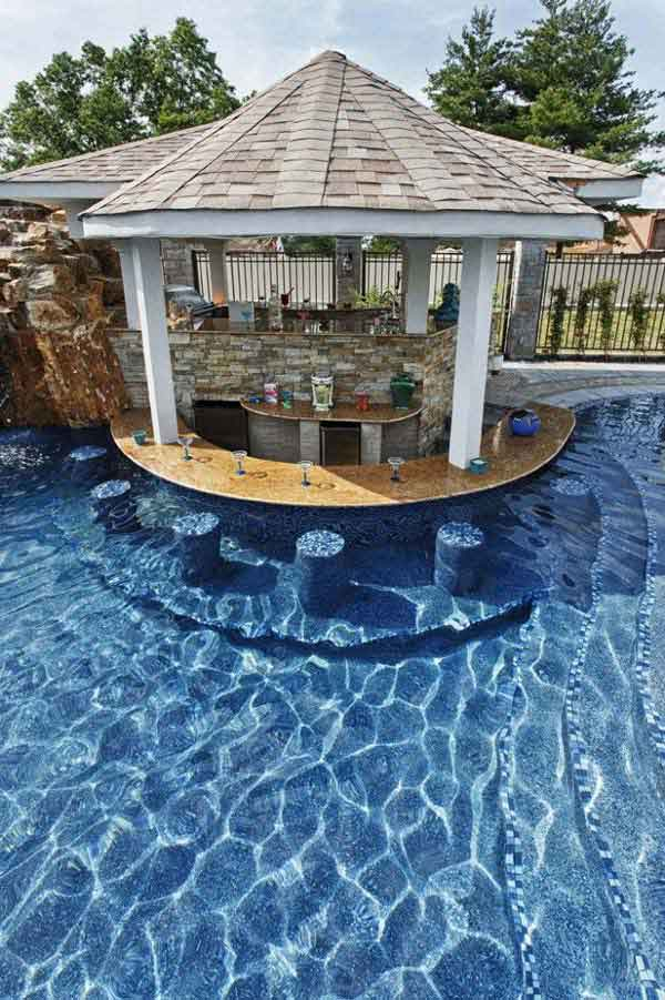 Clean Backyard Poolside Bar With Built In Underwater Stools