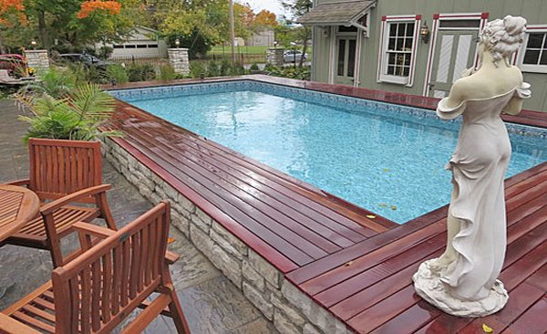 pool with wood deck