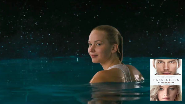 Jennifer Lawrence in Passengers, with the anti-gravity pool, just before suffering gravity loss