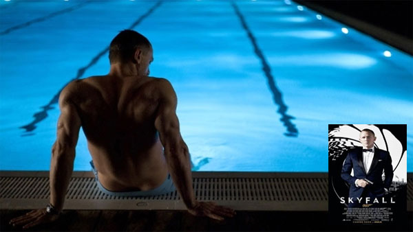 James Bond in Skyfall movie pool scene
