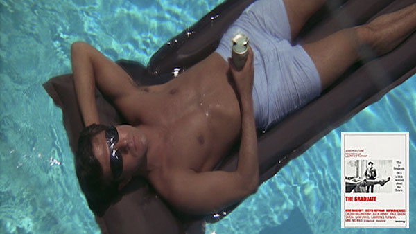Dustin Hoffman in the Graduate, floating in the pool
