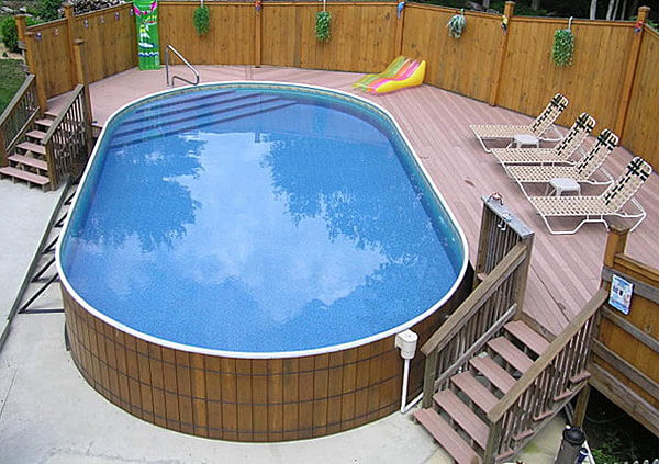 aboveground pool wrapped in wood