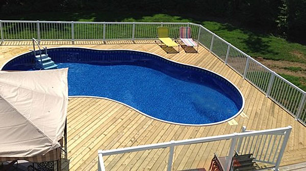 kidney pool with wood deck