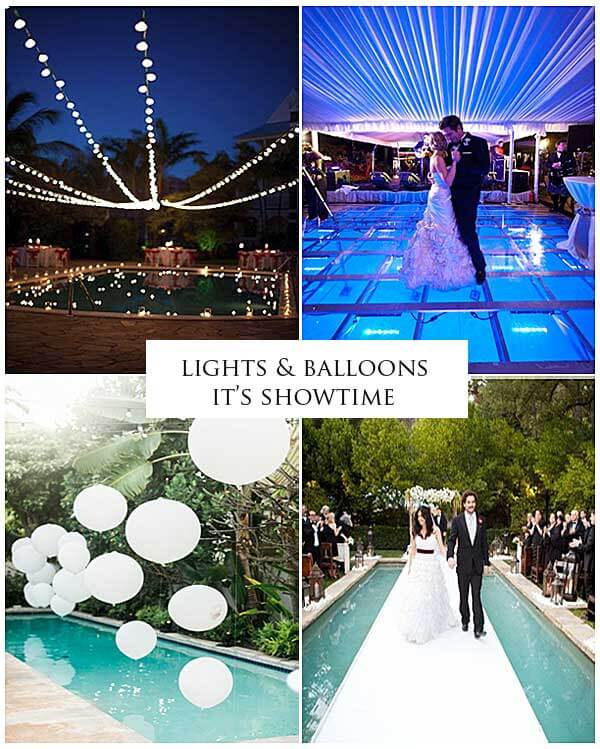 "Images via HappyWedd ""33 Cool Poolside Wedding Ideas"""