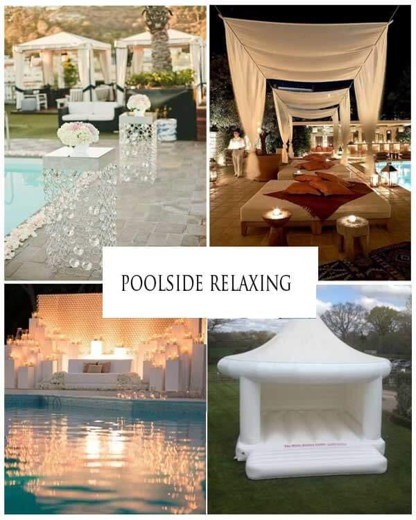 """Images via Martha Stewart Weddings """"30 Fun Ideas for a Poolside Wedding"""""""