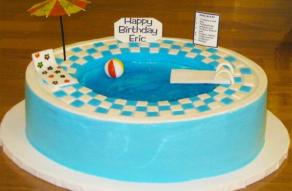 Strange Pool Party Cakes Swimming Pool Cakes Intheswim Pool Blog Personalised Birthday Cards Vishlily Jamesorg